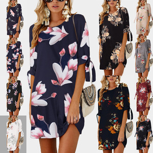 2019 Women Summer Dress Boho Style Floral Print Chiffon Beach Dress Tunic Sundress Loose Mini Party Dress Plus Size S-5XL