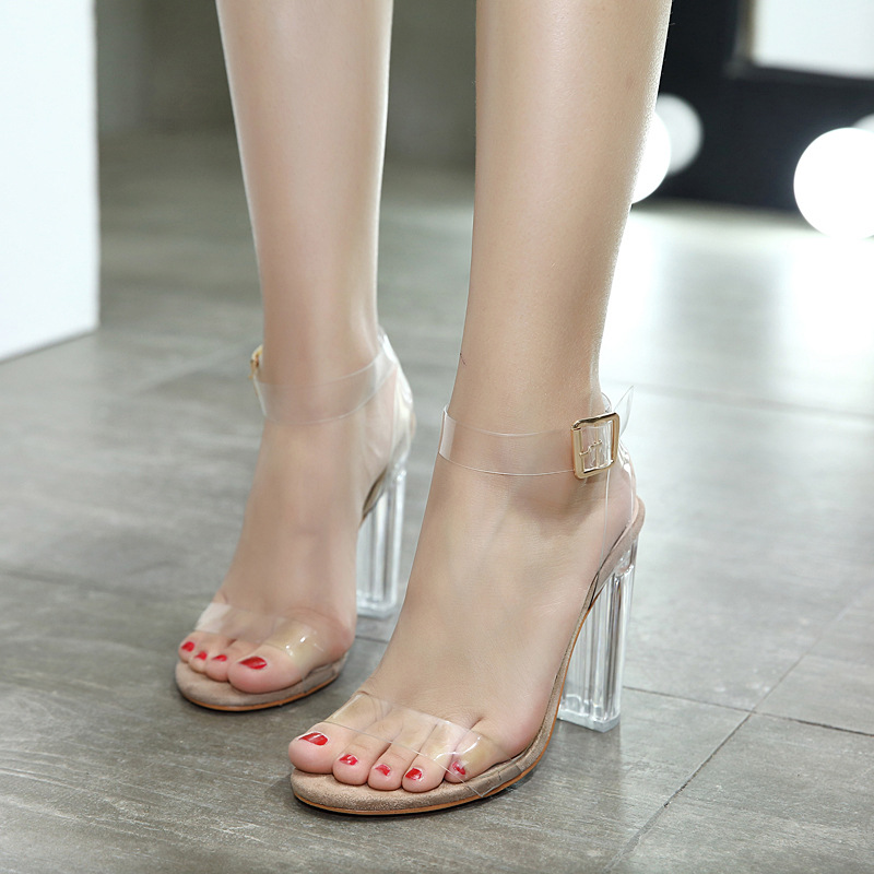 d8c0b19852861 View larger image. European Style Diamond Crystal High Heel Shoes With  Buckle Transparent Ladies Beautiful High Heel Sandals