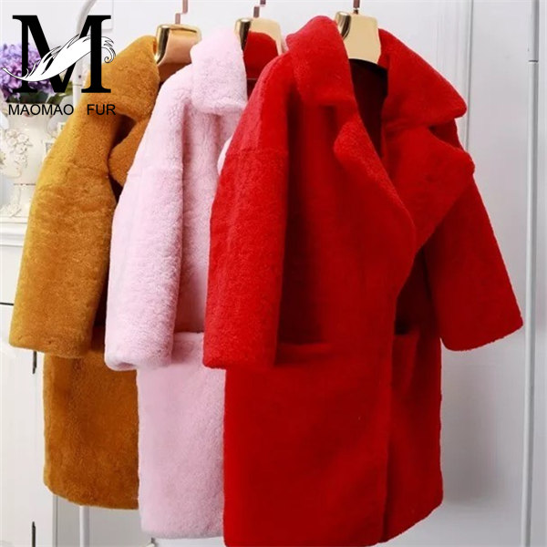 Top Grade New Fashionable Long Coat Genuine Sheep Fur Shearing Young Lady Coat