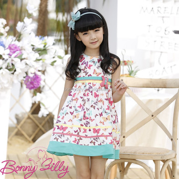 3739a913 Sweet Girl Butterfly Printing Cute Child Wear Children Dress for 3-10 Years
