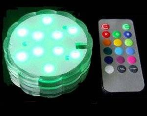 Acmee LED Color Change Submersible Wedding Party Light Base Vase 10 Tricolor Led's Per Base Remote Controllable (Pack of 4)