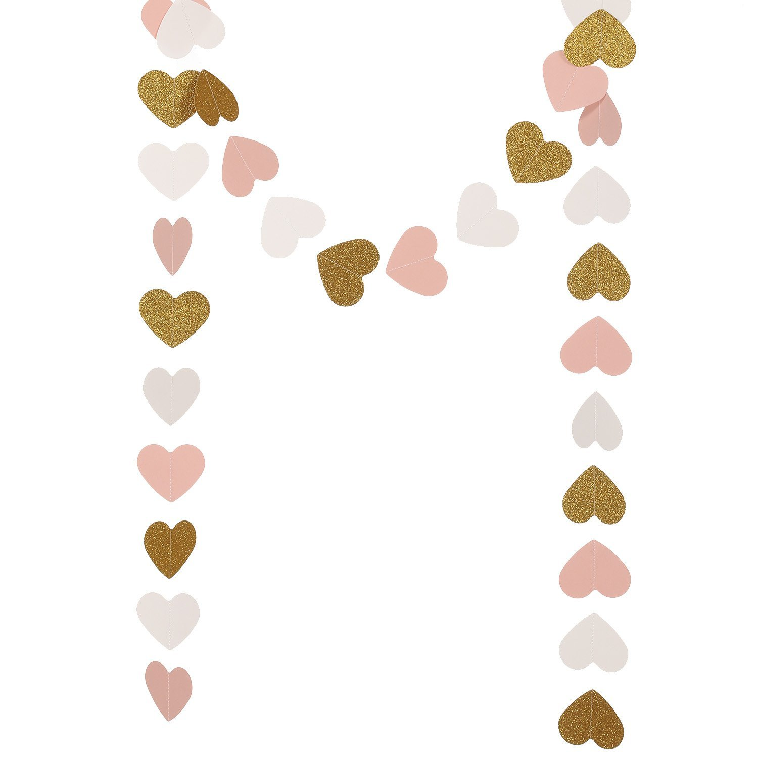 Ling's moment 9 Feet Paper Heart Garland, Glitter Paper Garland, Heart Hanging Decorations for Wedding, Baby Shower, Christmas Items & Party Props (Gold Glitter+Pink+White)