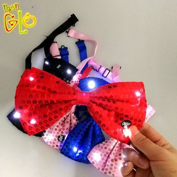 Event Party Supplies Sequin LED Flashing Light Up Bow Tie
