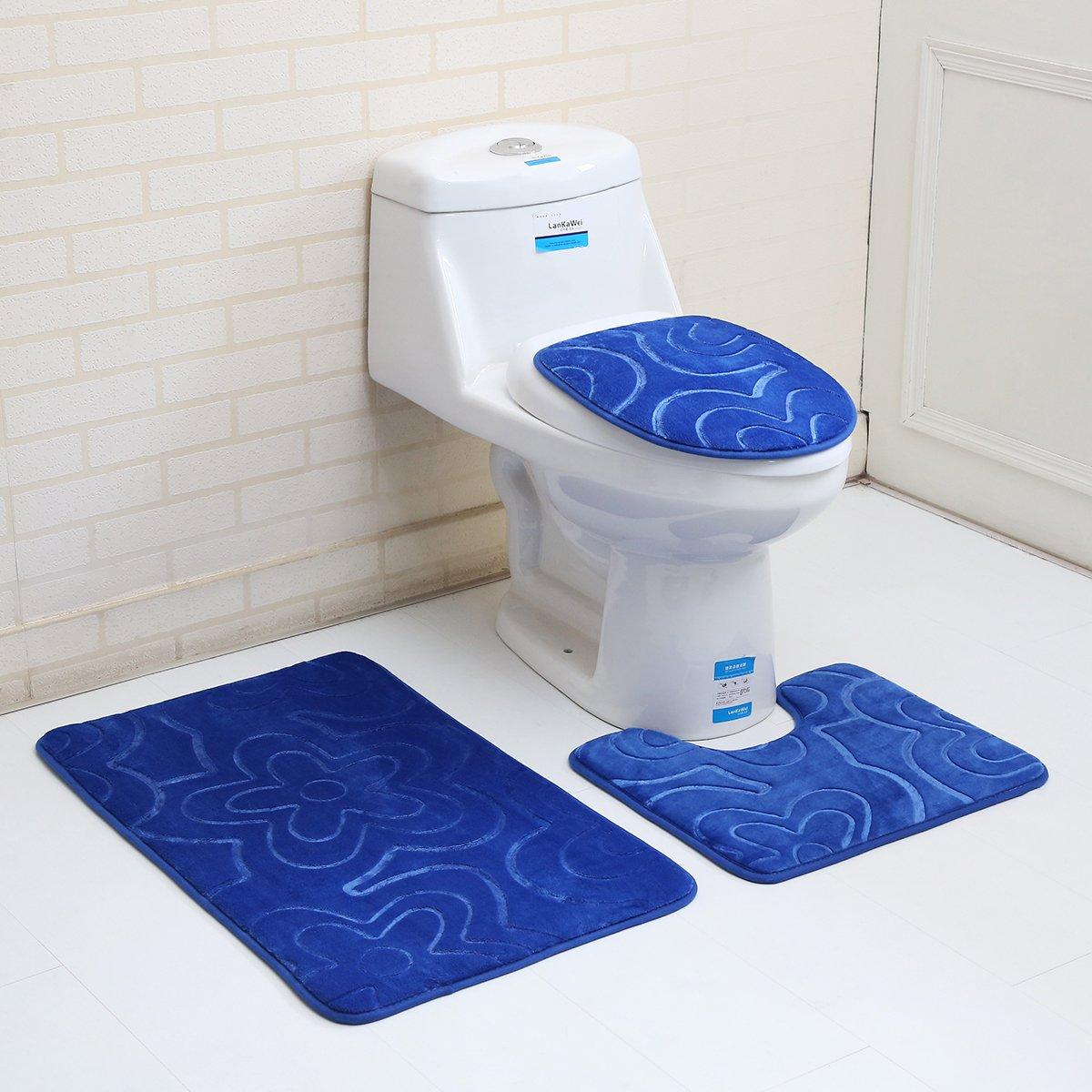 """3PC Bath Mat Rug Set Bathroom Non-Slip Floor Mat Flannel Pedestal Rug(15.7""""x19.7"""") + Lid Toilet Cover(15.7""""x17.7"""") + Bath Mat Makaor (19.7""""x31.4"""") (Dark blue)"""