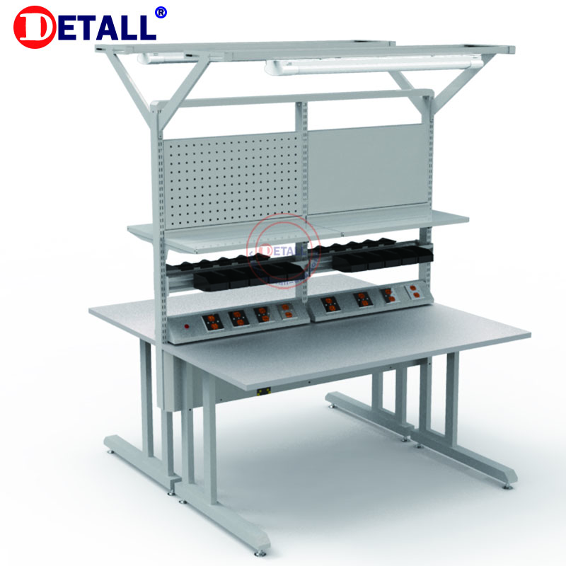 Detall. Strong Metal Light Duty Workbench With Tools Cabinet