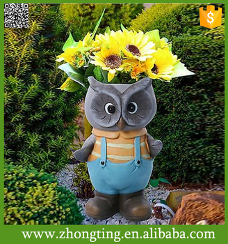 Genial Garden Figurines Head Planters Cheap Blue Owl Garden Gnome Flower Pots