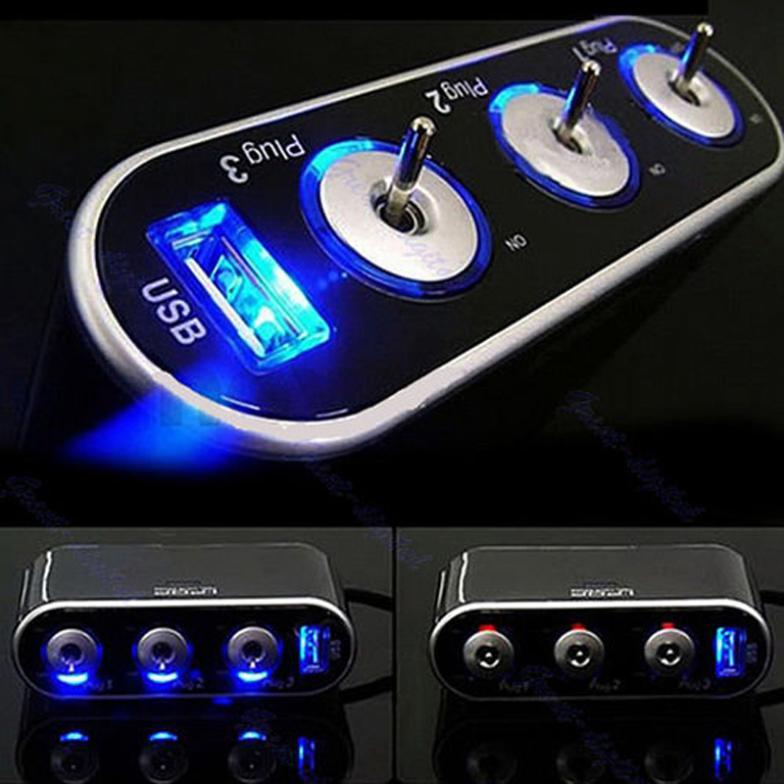Автомобиль автомобильного прикуривателя 3 разъём(ов) сплиттер адаптер 12в USB порт #L0192546