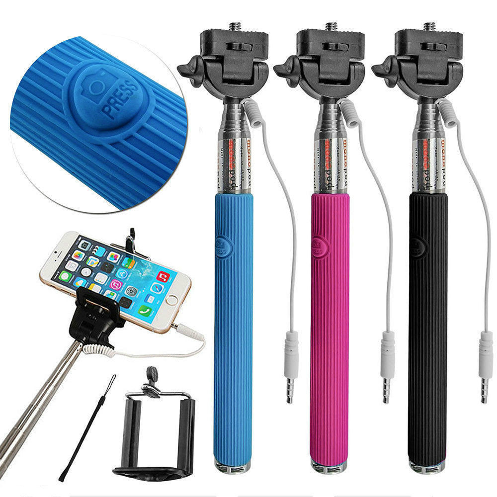 Universal Wired Phones Camera Selfie Stick Handheld Monopod Built-in Shutter + Mount Holder For Smartphone iPhone Samsung