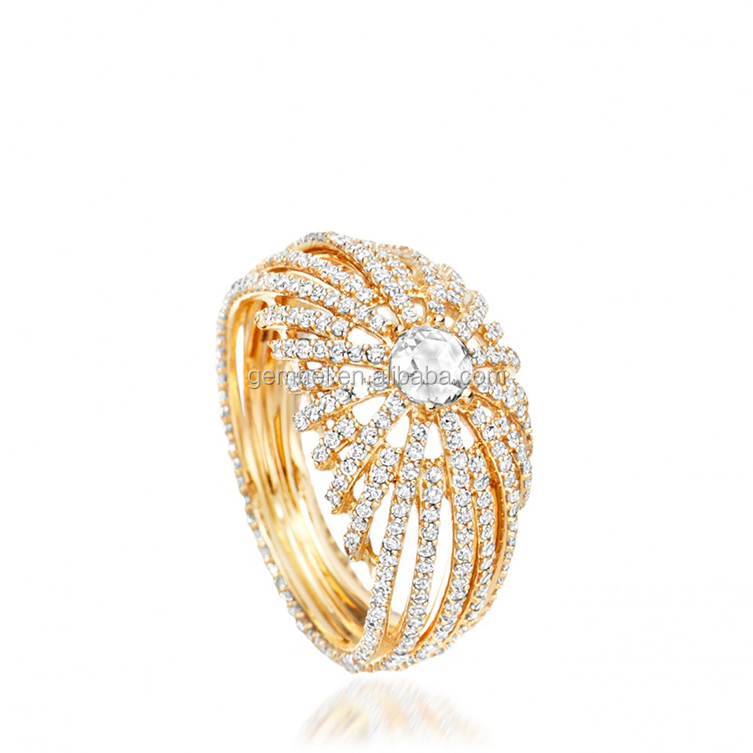 Gemnel newest fashion rising sun centre women cocktail ring for women