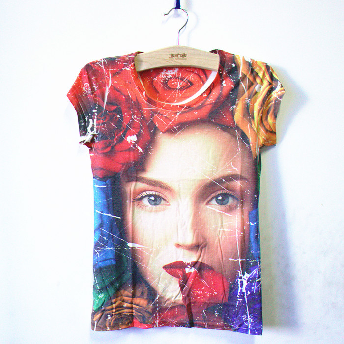 Women Tops 2015 Summer Style Women t-shirt Fashion Rose Face 3d Print Harajuku tee shirt women's t shirt casual camiseta mujer