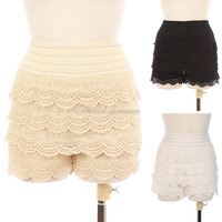 CROCHET TIERED KNIT SHORTS Women's Cotton Spandex Fitted Scallop Hem Crochet Lace Mini Shorts