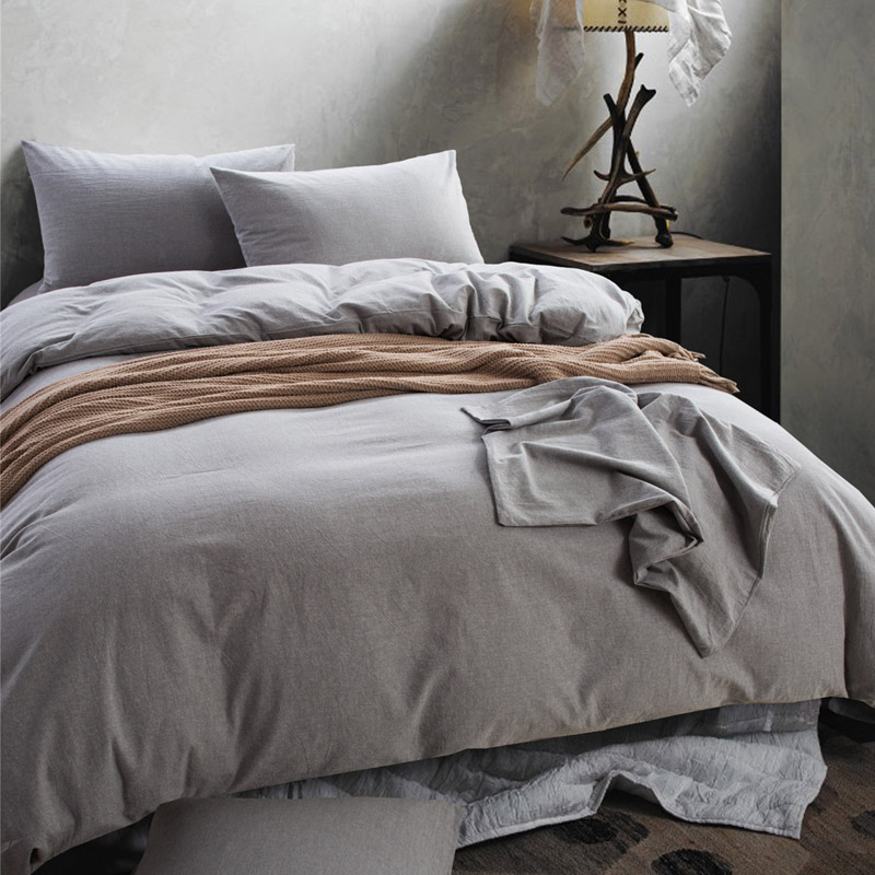 high quality washable cotton fabric solid color mens bedding set twin full queen king size duvet. Black Bedroom Furniture Sets. Home Design Ideas