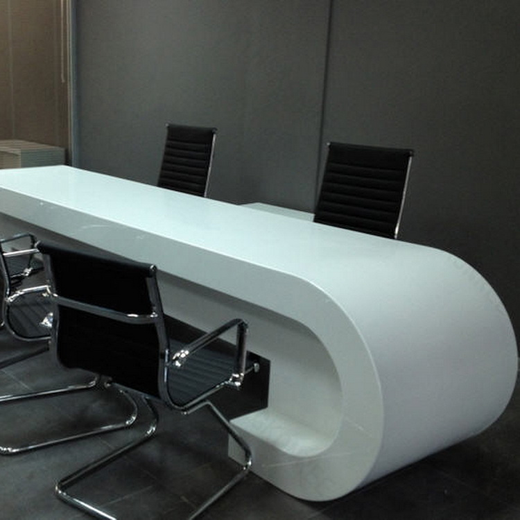 Marvelous Modern White Office Desk Solid Surface Office Counter Desk Top