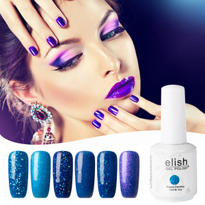 Gel nail polish glitter shimmer blue soak off UV LED gel for nail studio