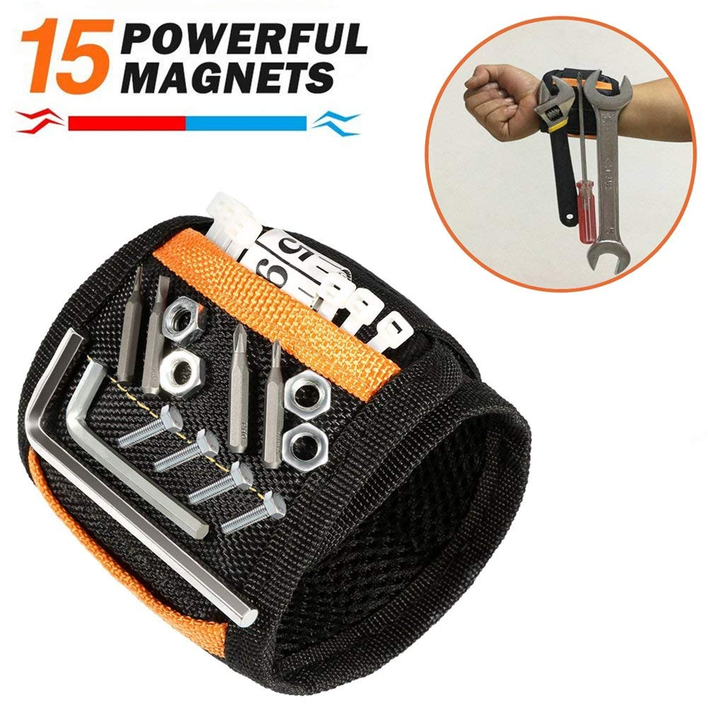 Magnetic Wristband - JIANYI 15 Powerful Magnets Holding Screws, Nails, Bolts, Drill Bits, and Small Tools - Best Unique Gift for Men, Women, DIY Handyman, Father/Dad, Husband, Boyfriend, Electrician?