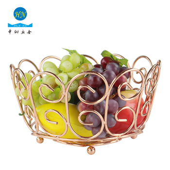 Heart Series Metal Fruit Basket Holder Kitchen Dining Table Decoration Bowl Rose Gold Chrome