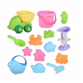 Zille Food Grade 14pcs Tpe Soft Plastic Sand Beach Toys Baby Silicone Summer Outdoor Play Set