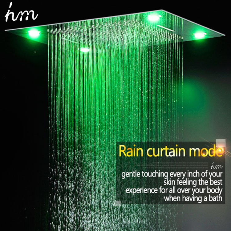 5 Way Thermostatic Valve Shower Color Remote Control LED Electronic Shower  Head Embed Ceiling Mounted Rainfall