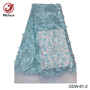 3d Round Embroidery Tulle Wholesale Dubai Fabric Lace With Beads