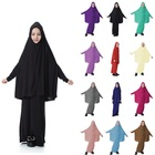 1 Set Children Solid Long Overhead Scarf Kids Islamic Clothing