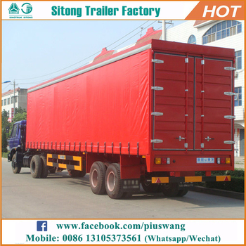 935a411562 Sitong 2 3 axles van box type enclosed cargo semi trailer with siding  curtain