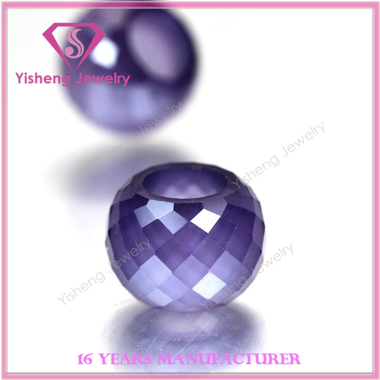 Round Checkerboard Cutting Semi Precious Purple CZ Stone Gems