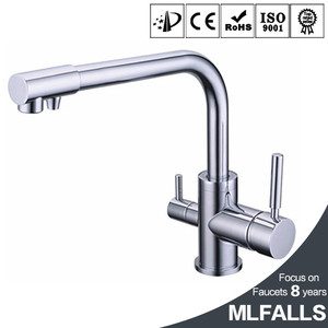 100% brass chrome polished hot and cold water purifier tap 3 Way kitchen sink mixer faucet 2 holes drinking water tap