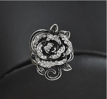 Fashion Black Stone <span class=keywords><strong>Rose</strong></span> Anello In Acciaio Inox Gioielli Gothic Retro Motor <span class=keywords><strong>Biker</strong></span> Rosa Donne Anello