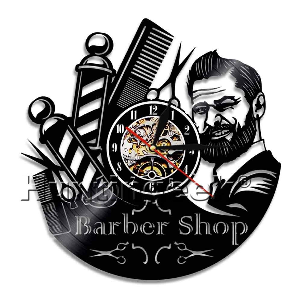 Barber Shop Decorative Wall Clock Hairdresser Vinyl Record Clock Antique Barber Hairstylist Clock Fans of Fashion Barber Gifts (Without LED)