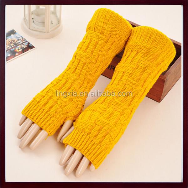 17921e722 Lady Winter Long Stretch Weave Knit Arm Warmer, Crochet Acrylic Fingerless  Gloves, Soft Knit