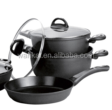 7pcs Aluminum Nice Looking Forged Black Marble Cookware Set