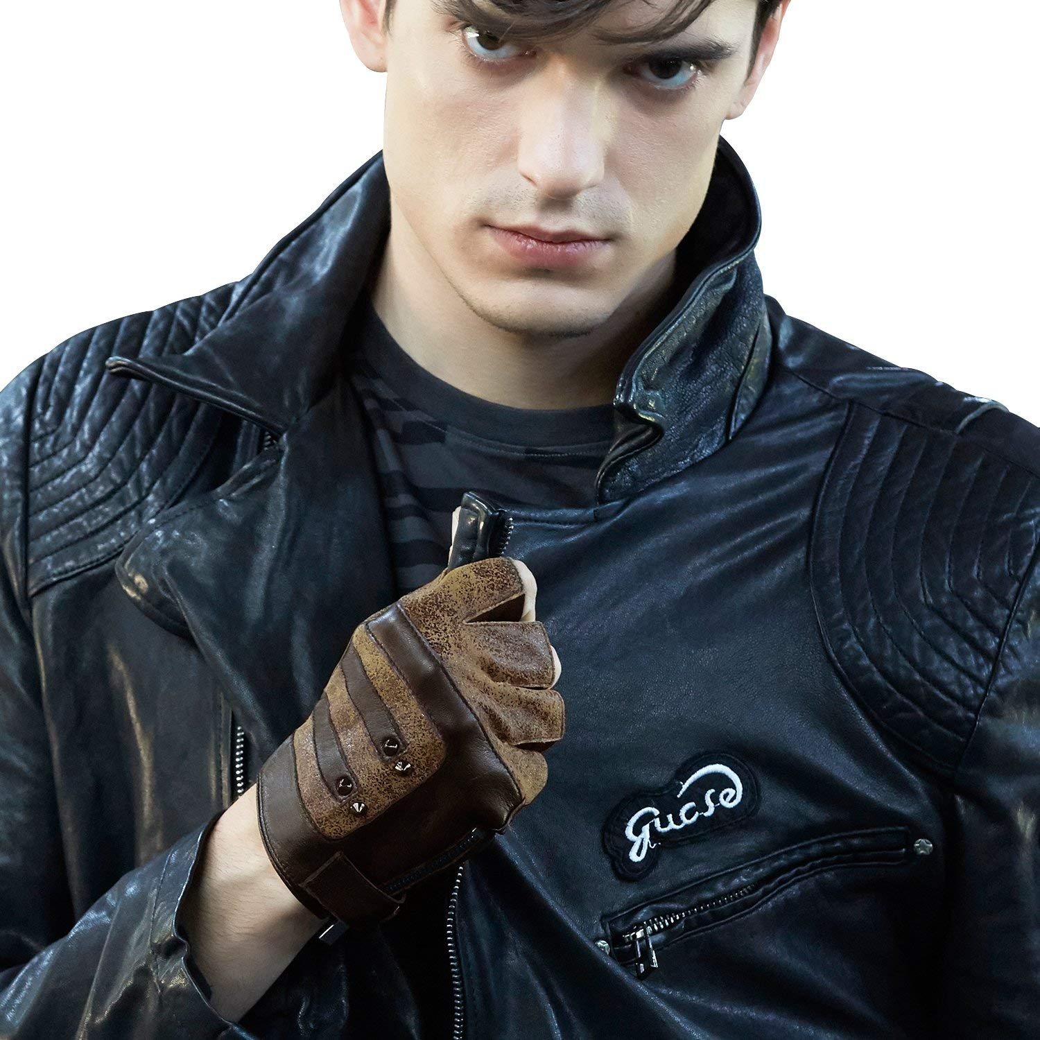 fa119667a Get Quotations · Fioretto Mens Fingerless Gloves Italian Genuine Goatskin  Half Finger Driving Leather Gloves Unlined with Rivets Punk