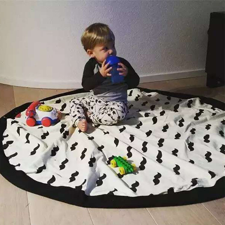2016 Fashion Baby Game Blanket Mustache Bear Patterns Canvas Children Crawling Mat Baby Play Mats