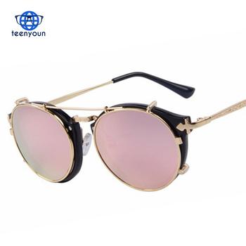 bf99d9089b Vintage Women Round Men Separable Lens Mirror lens Clear lens Retro Glasses  Flip Steampunk Sunglasses