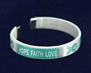 Teal Ribbon Fabric Bangle Bracelet - Hope, Faith, Love (Child Size - Retail)