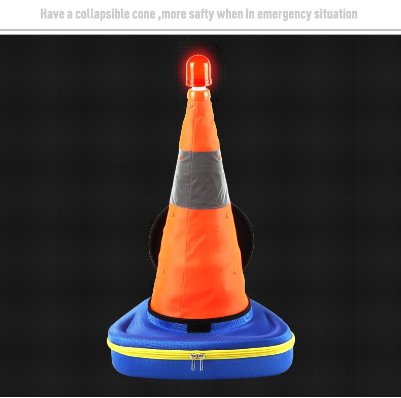 Collapsible Traffic Safety Reflective Cone Security Emergency Safety Kit tool Case with led warning light
