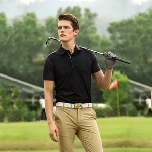 plain black polo t shirts dry fit polyester golf clothing