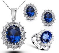 Nadasa Jewelry Yiwu Queen Royal ocean blue 18K white gold austrian crystal rhinestones zircon pendant chain necklace earrings ri