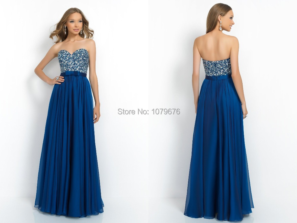 New Arrival 2015 Dark Blue Sweetheart Crystal Sequined Long Prom Dresses Evening Gowns Elegant Robe De Soiree Free Shipping