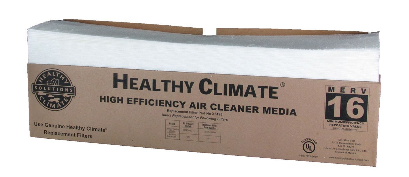 """Lennox, Healthy Climate X5425 28"""" x 17"""" x 6"""" Replacement Filter Media, MERV 16 - 2- Pack"""