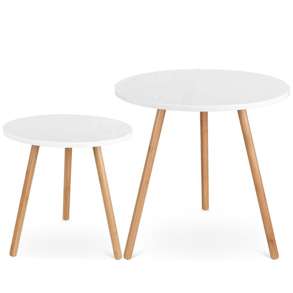 - Modern Flat Pack Small Round White Nesting End Coffee Table Set Of