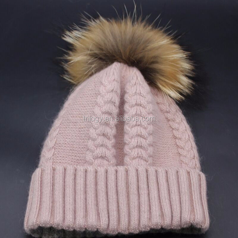 Soft warm winter lady cashmere hat with detachable genuine raccoon fur pom , cable knit beanie for women