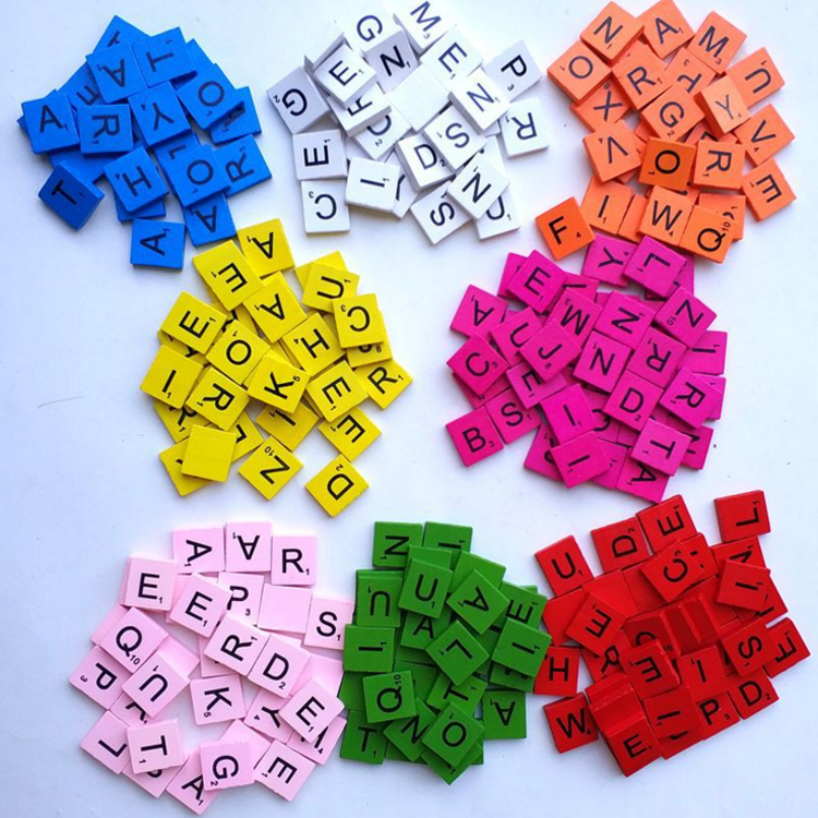 Wood Scrabble Tiles - NEW Scrabble Letters Wood Pieces Great for Crafts Pendants Spelling 100pcs for 1set