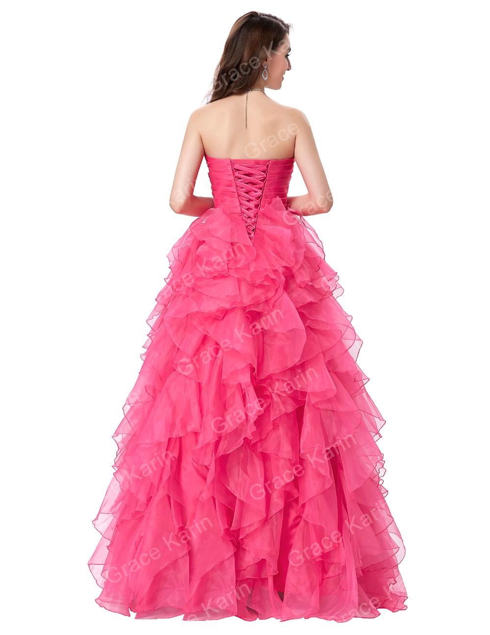 Gracia Karin Moda Novia Sin Tirantes Largo Vestido De Fiesta Rosa ...