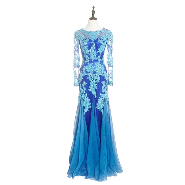 Đầy Đủ Ren Tay Áo Dài Phụ Nữ Mặc Hoa Appliqued Đêm Gown Buổi Tối Ăn Mặc