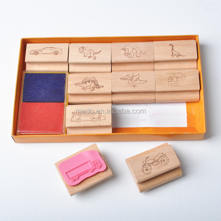 Funny Wooden Kids Toy Stamp Set with Two-coloured Stamp Pad