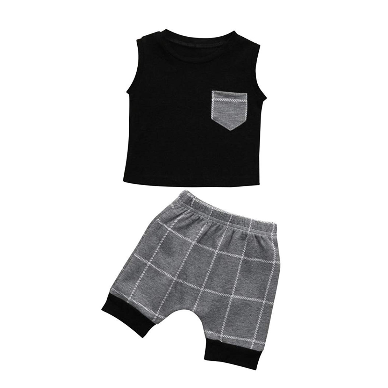 761871572 Get Quotations · JPOQW 2PCS Infant Toddler Boys Girl Pocket Plaid Tops  T-Shirt Vest Plaid Shorts Outfits