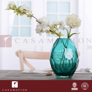CASAMOTION Turquoise Solid Color Diamond Shape Shiny Decorative Flower Glass Vase