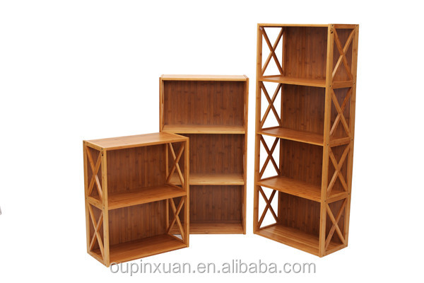 New Design Movable Bookcase Bamboo Bookshelves