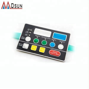 Embossed push button keypad membrane switch with LCD window